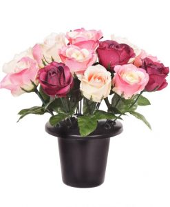 25cm Grave Tribute 16 Pink Roses