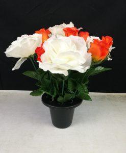 FL13063B White Rose and Blue Rosebud Gravepot Flowers by Design
