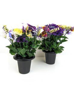 FL13076 Pansy Purple Rose Gravepot Flowers by Design