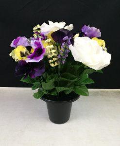 FL13076B Pansy White Rose Gravepot Flowers by Design