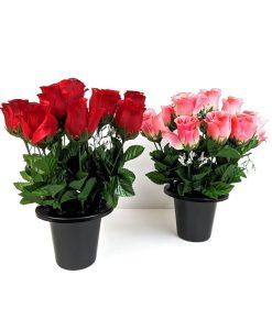 FL13170 Red Rose Gypsophila Gravepot Flowers by Design