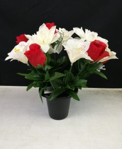 FL13077A Red Rosebud and Cream Roses and Lillies Gravepot Flowers by Design